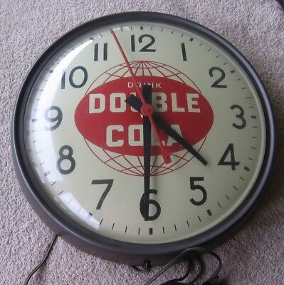 Vintage Drink Double Cola Soda Graham Electric Round Wall Advertising Clock