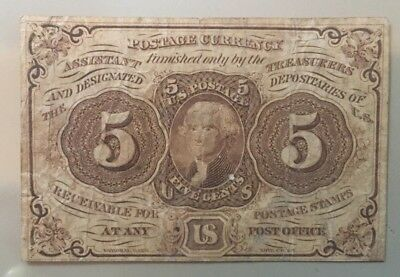 First Issue 1862-1863 5 five cents Postage currency straight edge FR 1230