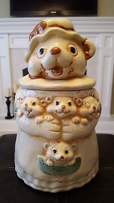 Vintage Porcelain Mother Bear with Four Baby Cubs Cookie Jar - Adorable!