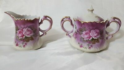Vintage LEFTON China Heavenly Rose in pink Sugar and Creamer Set with Lid