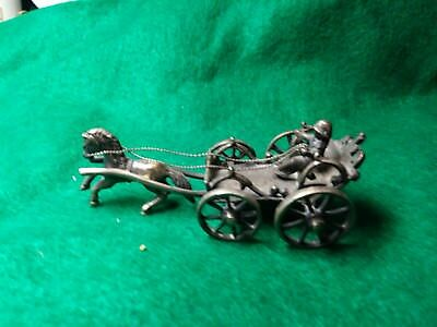 antique silver horse and wagon with driver 18th century working child's toy.RARE