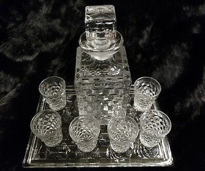 Vintage clear Glass Liquor Bottle Decanter Set 6 Matching Shot Glasses and tray