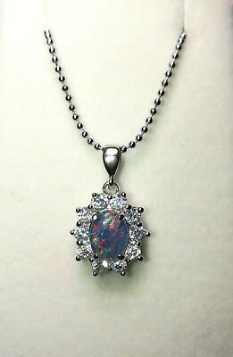 Unique Australian Triplet Opal Necklace Pendant 925 Sterling Silver Fashion