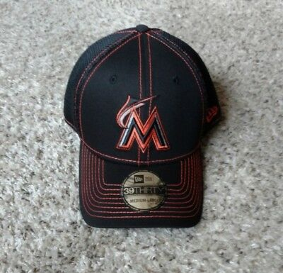 best service 6c42f b6317 New Era Miami Marlins Black Neo 39THIRTY Flex Hat, BRAND NEW, Med. -
