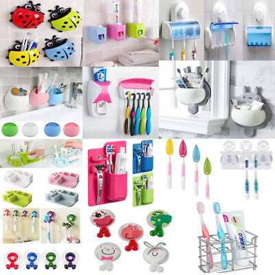 Cute Bathroom Toothbrush Wall Mount Racks Holder Sucker Suction Cups Organizer