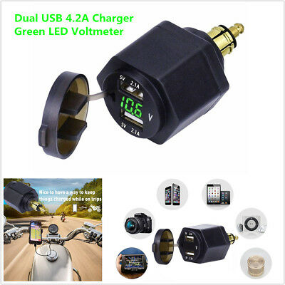 Motorcycle Green LED Voltmeter Dual USB Charger Adapter For BMW Din Hella Plug