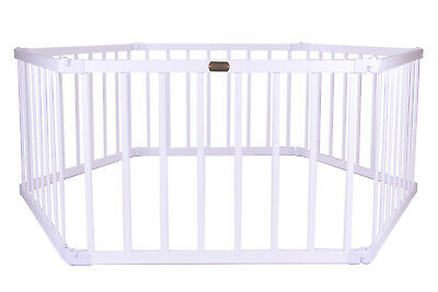 Baby Kids Toddler Pet Wooden Safety Playpen 6 Panel Hexagonal - White