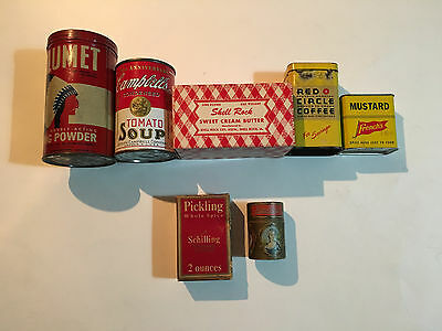 **VINTAGE LOT**, antique: spice,tin,BUTTER BOX,MATCH BOX,- old good condition