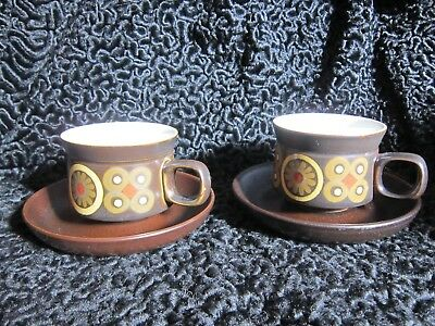 2 Vintage 1960 1970 Denby Arabesque Cup and Saucer Standard Tea Coffee Pair