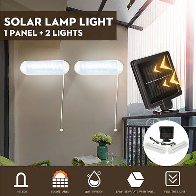 Solar LED Shed Light Garden Yard Wall-mounted Lamp Outdoor 1 Panel + 2 Lights