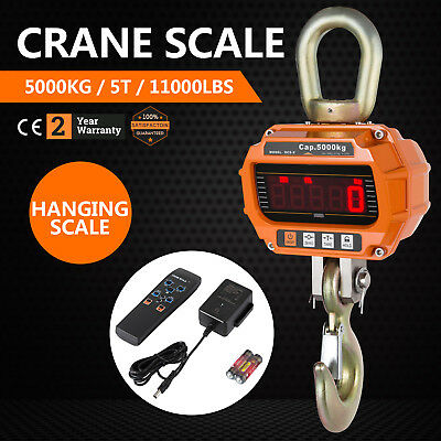 5T Digital Crane Scale 5000KG 11000LBS Hold display 2500 Division Hanging Scale