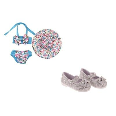 Doll Clothes Set Sequin Shoes Floral Swimsuit Hat for 18''AG American Doll Doll