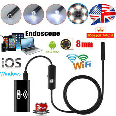UK 6 LED WIFI Endoscope Wireless Borescope Inspection Camera For iPhone Android