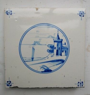 Antique Dutch Delft tile late 1800's to early 1900's - hand painted landscape