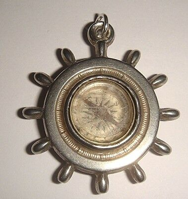 Antique Vintage Silver Double Sided Engraved Ship's Wheel Compass Charm Fob