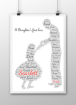 Dad Daddy Word Art Print Birthday Gift Daughter Son Personalised Fathers Day