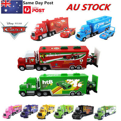 AU STOCK Disney Pixar Cars3 Plating Cruz Mack Hauler Truck & Racers Cars Toy Set