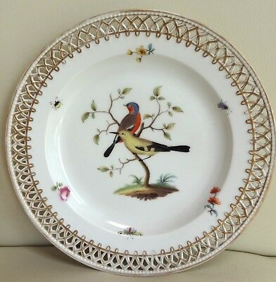 Super Hand Painted Berlin Porcelain Pierced Plate with Birds and Insects #2