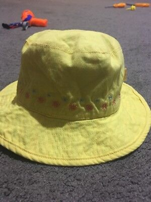 Baby Girls Yellow Reversible Pumpkin Patch Bucket Hat Size 3-6 Months EUC