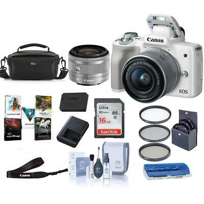 Canon EOS M50 Mirrorless Camera with 15-45mm STM Lens White W/Pc Free Acc Bundle