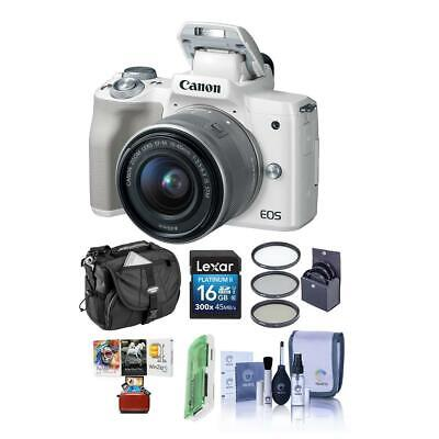 Canon EOS M50 Mirrorles Camera with 15-45mm STM Lens White W/Mac Free Acc Bundle