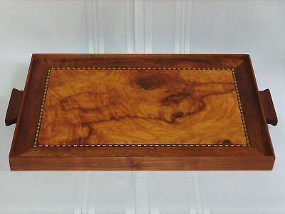 Deco Vintage Inlaid Burr Walnut & Walnut Veneer Reversible Serving Tray 1940's