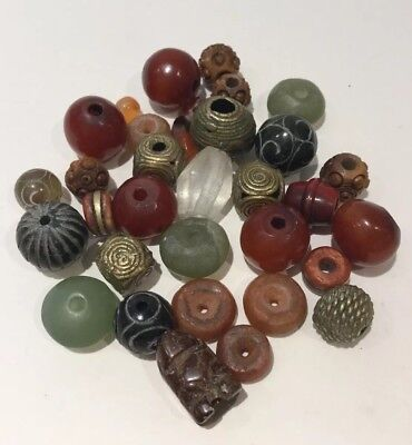 Ethnic African Beads Agate Baule Brass African Amber Serpentine Carved Job Lot