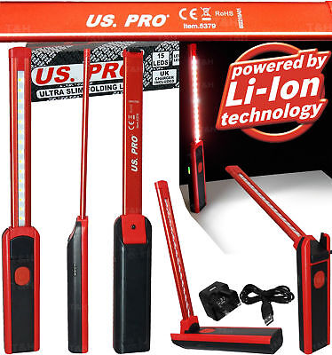 US.PRO TOOL 15 LED Work Light Torch Li-Ion Rechargeable Cordless Inspection Lamp