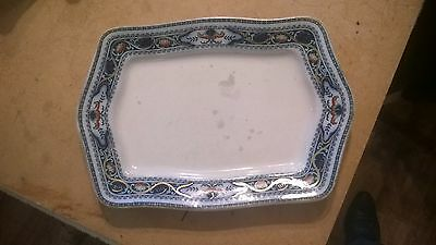 "Antique? Vintage Lotus Corona Ware Khang Chinese Style Sandwich Plate 11"" x 8"""