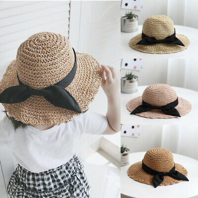 Mother Toddlers Kids Summer Hats Wide Brim Straw Hat Floppy Derby Beach Sun Cap