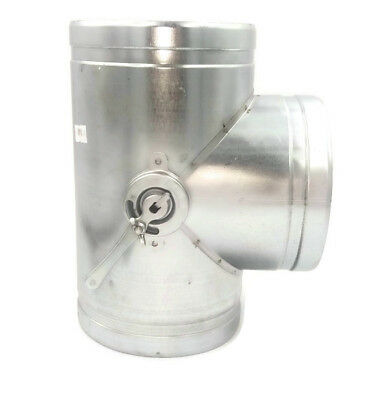 Galvanised Steel T Piece with Throttle / Damper Ducting Pipe / Hose Shutter