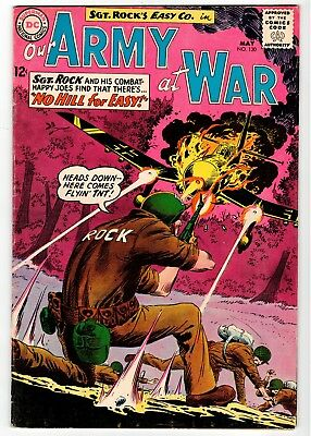 DC - OUR ARMY AT WAR #130 - Kubert Cover & Art - VG 1963 Vintage Comic