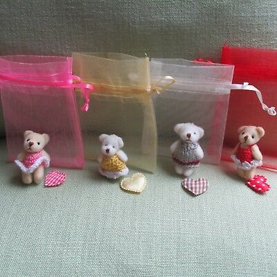 Teddy Bear & Bunny in Dress Easter Gift Doll House/Party Bags/Favor/Baby Shower