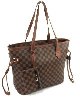 Womens Faux Leather Designer Inspired Checked Shoulder Bag Tote Handbag + Purse
