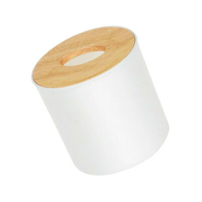 Modern Wood Cover Tissue Box Holder Paper Napkin Case Home Office Round