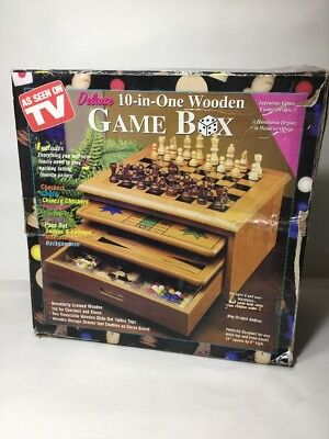 """12"""" Deluxe Wooden 10-In-One Checkers Chess Backgammon Family Board Game Box Set"""