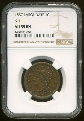 1857-P U.S. LARGE DATE ONE CENT [N1] ++NGC slabbed AU-55 BN++ RARE ISSUE