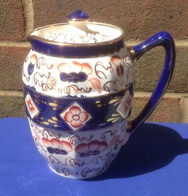 "Gaudy Welsh Coffee Pot/Hot Water Jug. 6""Cobalt/Orange/White."
