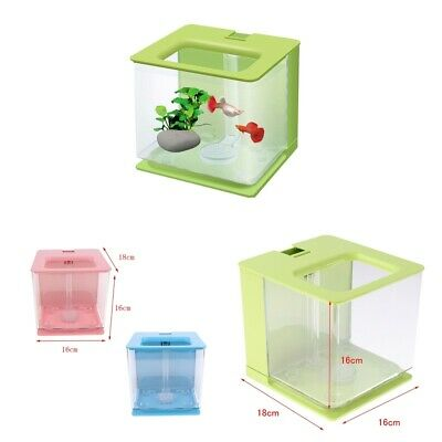 Aquarium Acrylic Fish Tank Bowl with Automatically Filter System 16x18x16cm