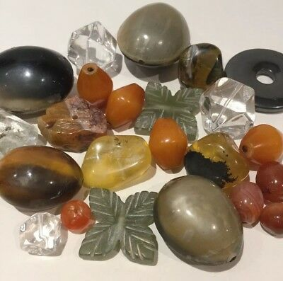 Large Beads Agate Quartz African Amber Carved Serpentine Job Lot