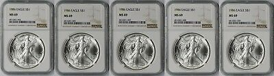 Lot 5 - 1986 Silver Eagle Dollar $1 MS 69 NGC 1 oz Fine Silver (5 Coins)
