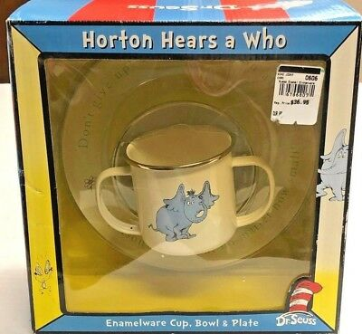 Dr. Suess Child Cup And Dish Set 'HORTON HEARS A WHO' ENAMELWARE MIB