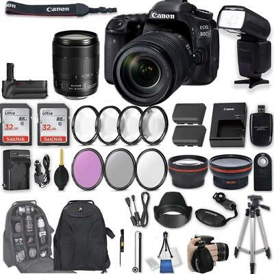 Canon EOS 80D Camera with EF-S 18-135mm f/3.5-5.6 IS USM Lens + 2Pcs 32GB + More