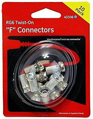 Box of 200 GE RG6 Twist-On F Connectors - 20 packs of 10 ea. = 200