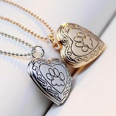 Photo Memorial Locket Necklace Pendant Pet Cat Dog Paw Jewelry Cremation Puppy