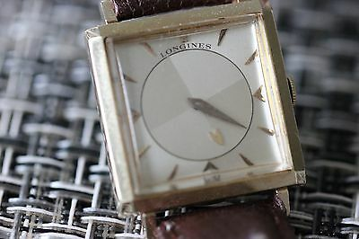 vintage longines men's mystery dial tank 14K solid gold watch w Omega 750 buckle