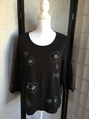 TANJAY Womens Size XL Black & White Floral Print Embroidered Faux Pearl Knit Top