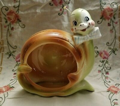 """Beautiful Snappy The Snail Large 7 1/2""""  Ash Tray By Enesco"""
