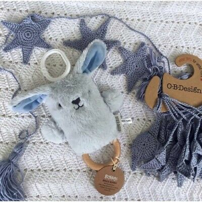 O.B Designs Dingaring Bruce Bunny (Blue) - Baby Wooden Teething Rattle Toy OB