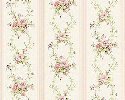 Dollhouse Miniature Pink Stripe Floral Shabby Chic Wallpaper 1:12